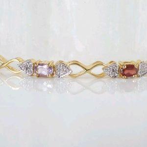 "Jewelry - Sterling 18k gold gemstone bracelet 7"" NWOT"